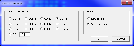 COM-port Number and Interface Speed Setting