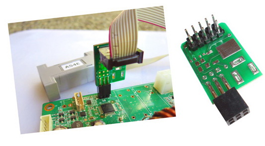 Adapter AS-con6 for 10-pin AVR programmers to 6-pin AVR boards connection